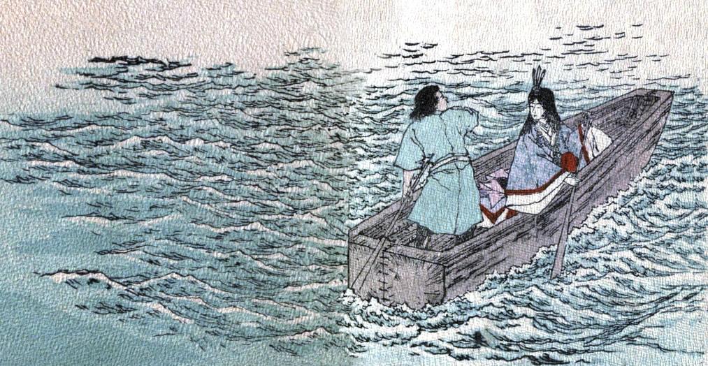 Урашима хванал едното гребло, дъщерята на Великия Цар Дракон - другото.
